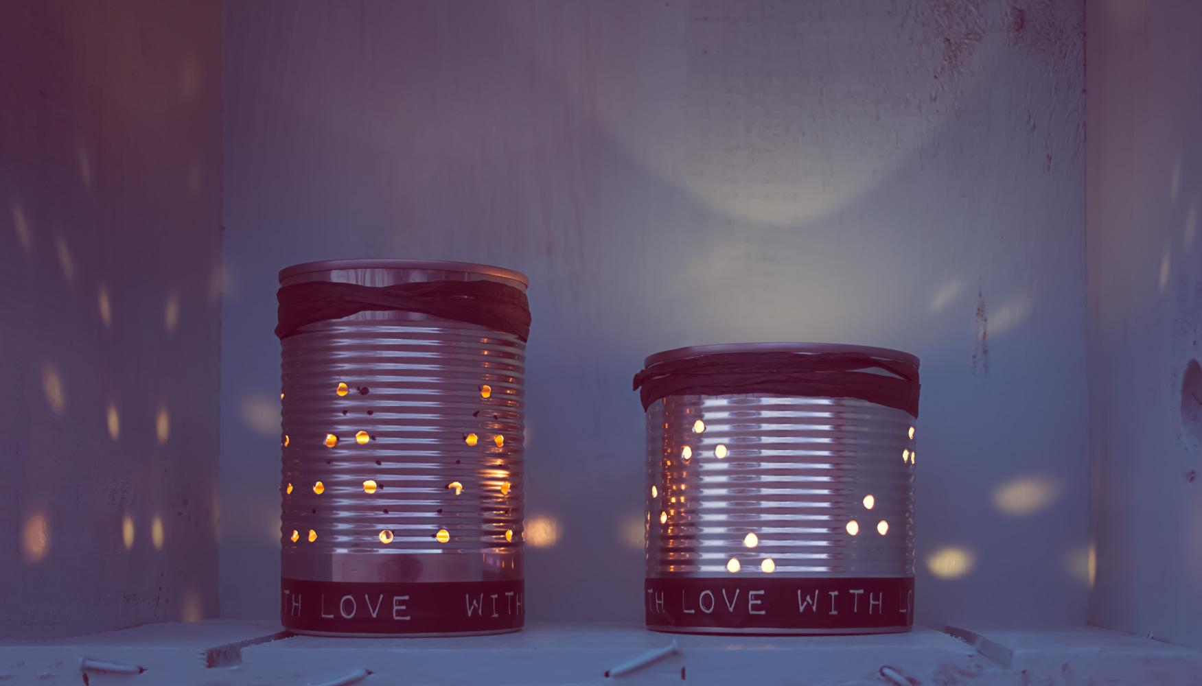 diy deko windlichter aus dosen tinkermess. Black Bedroom Furniture Sets. Home Design Ideas